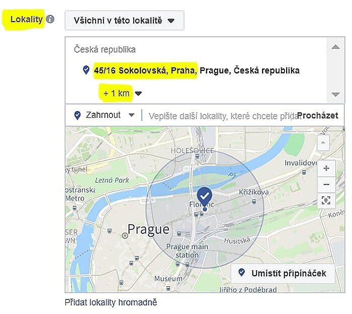 Facebook reklama – lokalita